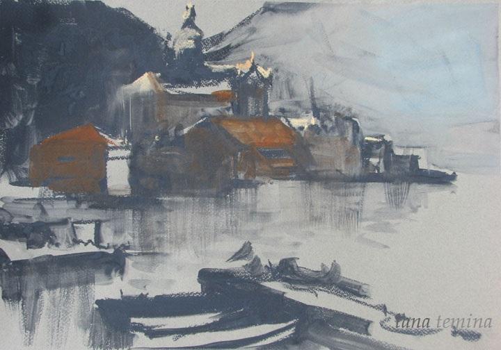 Лана Тёмина.Пейзаж с церковью.Черногория.