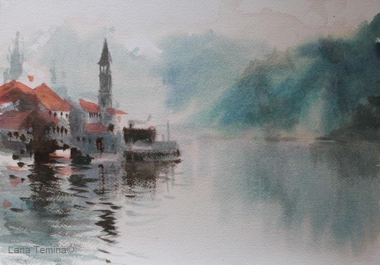 lana temina.kotorski zaliv akvarel