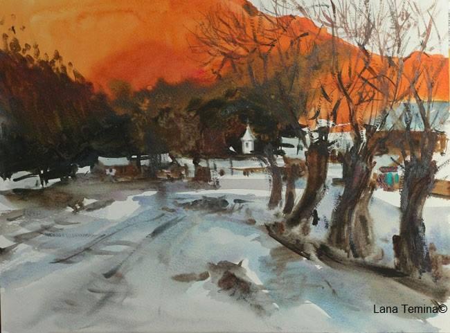 зимний пейзаж акварелью