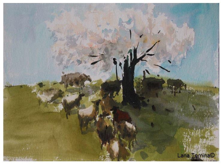 пейзаж с деревом акварель весна