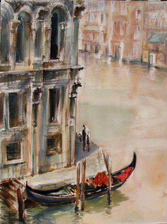 пейзаж венеции акварель