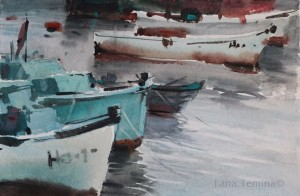 boats in nesebar-watercolor