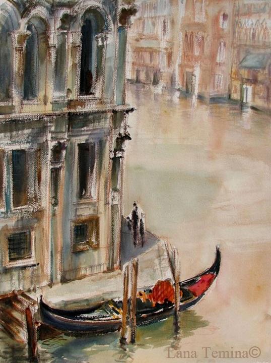 венеция канал акварель