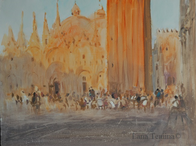 закат венеция акварелью
